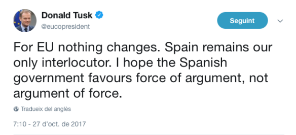 Tuit Donald Tusk